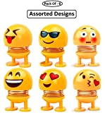 GS Grow n Shine Car Ornaments Smiley Shaking Head Dolls Cute Cartoon Funny Emoji Wobble Head Robot Dashboard Car Decorations Car Accessories Set of - 6 Random Design