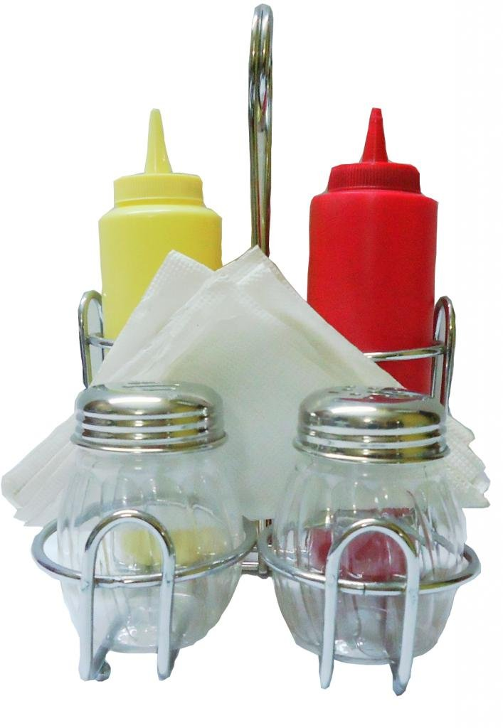 5 IN 1 Holder Condiment Set(A set of 2 Chilli flakes dispensers/shakers, 2 squeeze bottles with napkin Holder)