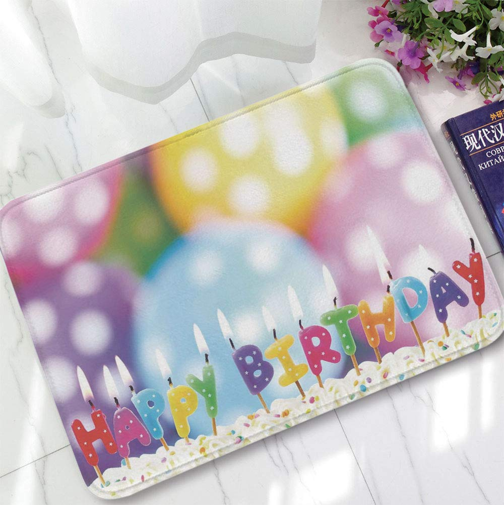 YOLIYANA Ultra-Soft Mat,Birthday Decorations for Kids,for Kitchen Living Room,15.75''x23.62'',Colorful Candles on Party Cake with