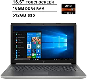 2020 Newest HP Pavilion 15 15.6 Inch Touchscreen FHD Laptop (AMD Quad Core Ryze 5 3500U up to 3.7 GHz, 16GB DDR4 RAM, 512GB SSD, AMD Radeon Vega 8, WiFi, Bluetooth, HDMI, Windows 10 Home, Silver)