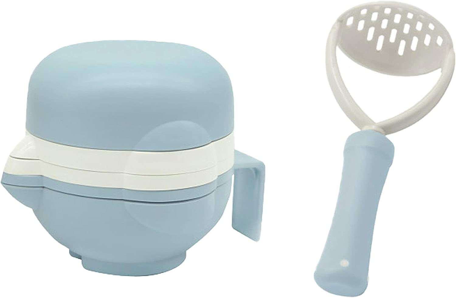 LITTOES BABY SOLID FOOD PREP SET grinder mashing handle serving bowl stainless steel mesh strainer juicer blue montessori