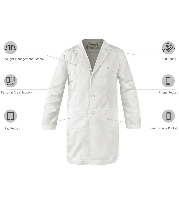 SCOTTeVEST Men's Lab Coat - 16 Pockets - Medical Uniform, Pickpocket Proof XL by SCOTTeVEST (Image #2)