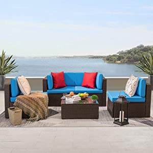 KaiMeng 5 Pieces Patio Furniture Clearance Rattan Chair Indoor-Outdoor Sectional Conversation Set Cushioned with Glass Table, Blue