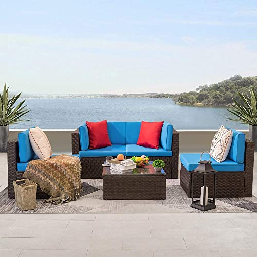 KaiMeng 5 Pieces Patio Furniture Clearance Rattan Chair Indoor-Outdoor Sectional Conversation Set Cushioned