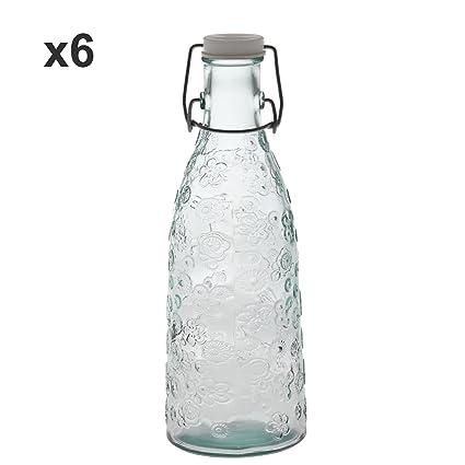DonRegaloWeb - Set de 6 botellas de cristal con dibujos para leche ...