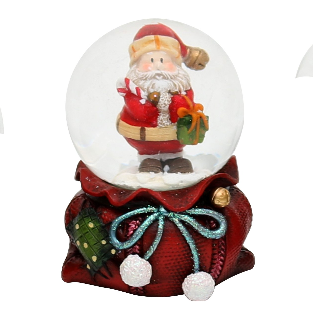 Bella e originale palla di vetro con base a forma di sacco dei regali, circa 7 x 5 cm / Ø 4,5 cm Dekohelden24