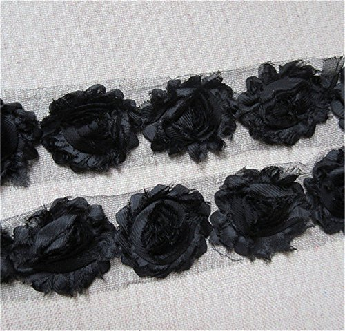 3 Yard Boutique Shabby Chic Fabric 3D Chiffon Rose Flower Lace Edge Trim Ribbon 6 cm Wide Vintage Style Edging Trimming Fabric Embroidered Applique Sewing Craft Wedding Bridal ()