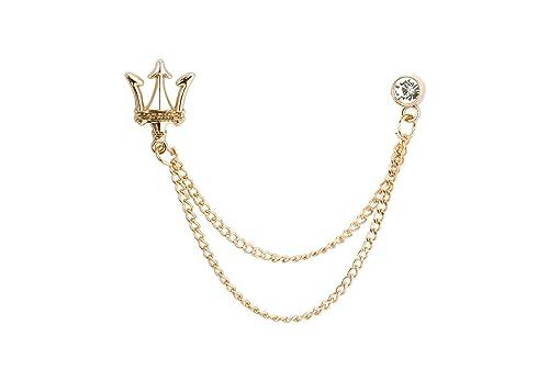 Knighthood Men's Gold Crown with Swarovski Collar Chain Collar Clip/Lapel  Pin Golden