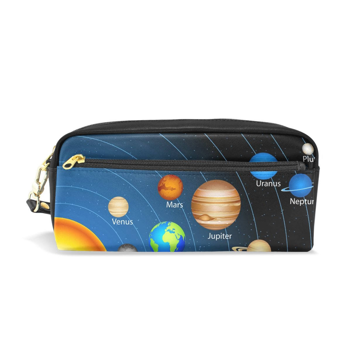 LORVIES Educational Solar System Portable PU Leather Pencil Case School Pen Bags Stationary Pouch Case Large Capacity Makeup Cosmetic Bag