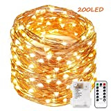 Guluman Outdoor Copper Fairy LED String Lights, Battery Operated 200 LED 66ft 20M Waterproof String Garden Lights for Home, Livingroom, Yard, Party (Warm White)