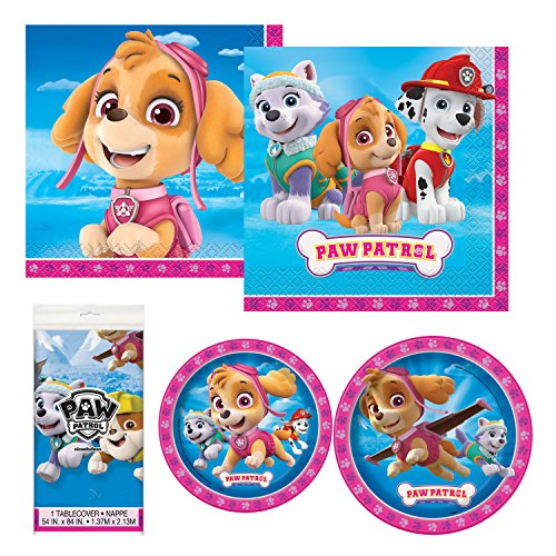 Unique Paw Patrol Girl Party Bundle   Luncheon & Beverage Napkins, Dinner & Dessert Plates, Table Cover   Great for Animated/Cartoon/Animal Birthday Themed Parties ()