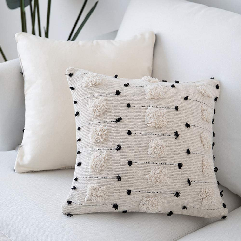 cygnus Farmhouse Throw Pillow Covers 18x18 Boho Decorative Black and Beige White Accent Pillows Cover Woven Tufted Tassel Cushion Case Home Decor(Square 18x18 inch)