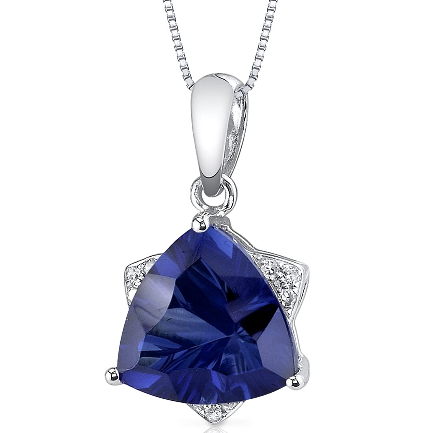 14 Karat White Gold Trillion Cut 3.73 carats Created Blue Sapphire Diamond Pendant
