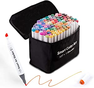 108 Pack Art Markers, 107 Coloring Markers and 1 Blender, Alcohol Based Dual Tip Permanent Markers Highlighters with Case, Excellent for Adults Kids Marking Drawing Sketching by Smart Color Art