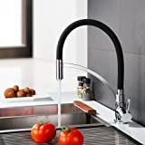 Homelody Schwarz Wasserhahn Küche Armatur 360° drehbar Küchenarmatur Spüle Mischbatterie Einhebel Spültischarmatur Spiralfederarmatur (Chrom)
