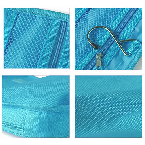Travelmall Travel Organizer Toiletry Bag Cosmetic Bag Pouch Handbag for Women Makeup Men Shaving Kit with Hook Hanging Blue Photo #5