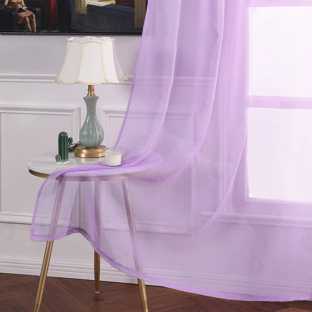 MIULEE 2 Panneaux Couleur Pure Rideaux De Fen/être Transparents Lisse /Él/égant Panneaux Voile De Fen/être Rideaux Traitement pour Chambre Salon Rideaux /à Oeillets 140x145cm Beige