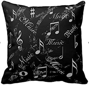 DecorboxBlack And Grey Music Notes Throw Pillows Custom Throw Pillow Case Personalized Cushion Cover Pillowcase Square Pillow Cover 16x16