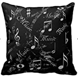 Decorbox  Black And Grey Music Notes Throw Pillows Custom Throw Pillow Case Personalized Cushion Cover Pillowcase Square Pillow Cover 16x16
