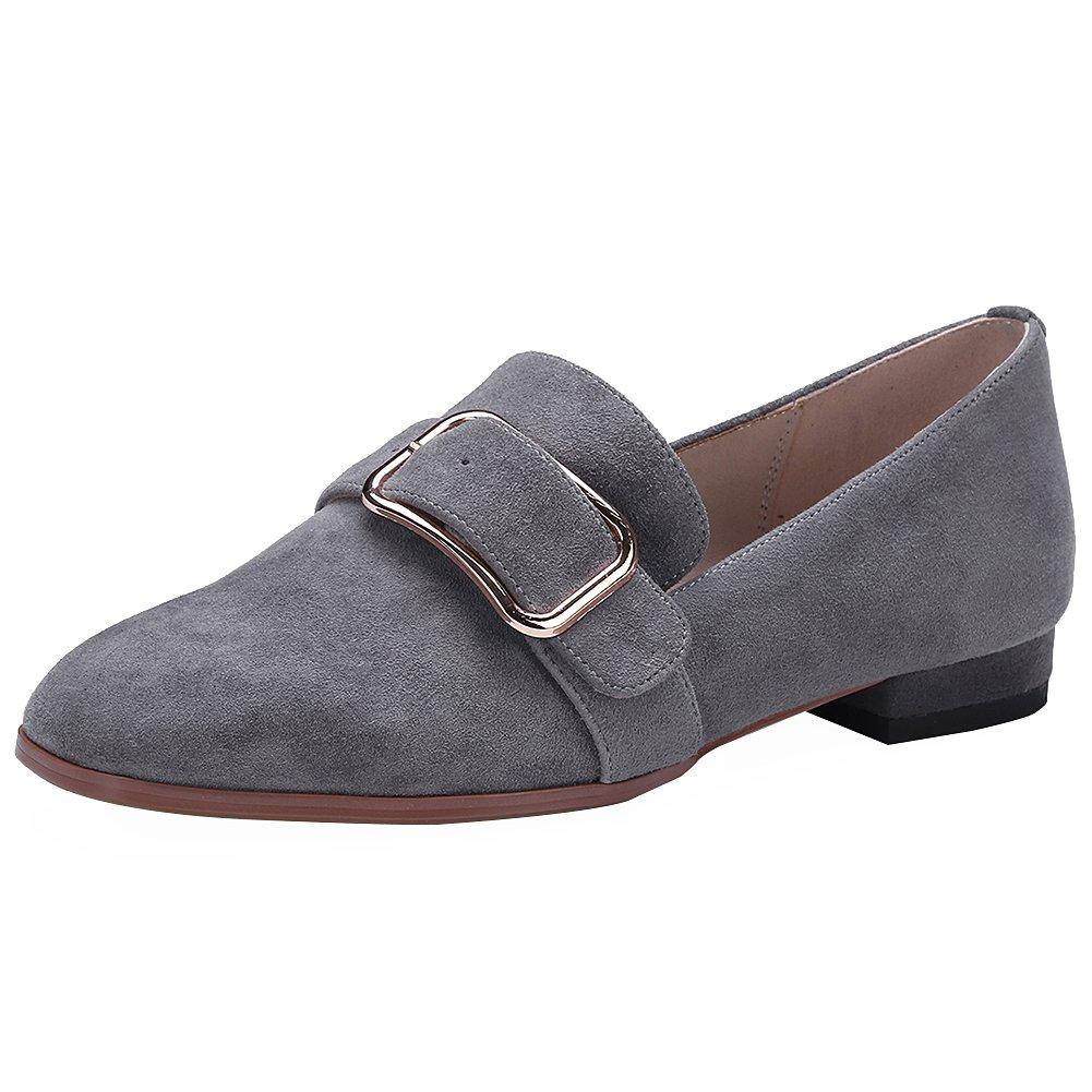rismart Damen Schnalle Slip auf Chunky Heel Trendy Wildleder Pumps Schuhe38 EU|Grau