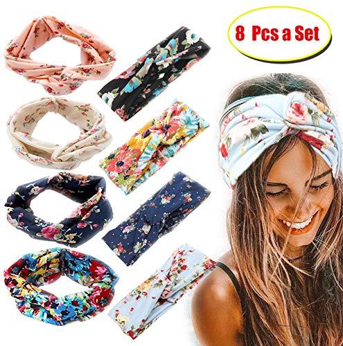 FIBO STEEL 8 Pcs Headbands for Women Girls Wide Boho Knotted Yoga Head Wrap Hair Band