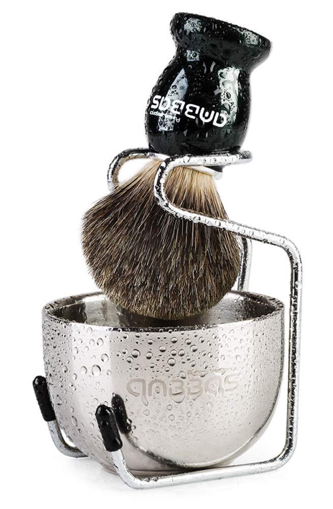Anbbas - Juego de afeitado, brocha manual con mango de madera de Fraxinus Mandschurica y bol de afeitado de acero inoxidable y soporte para la cuchilla de afeitar de hombre.