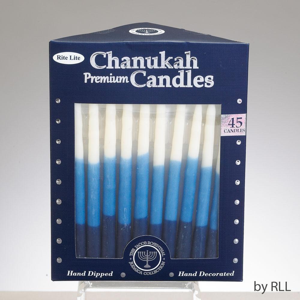 Premium Hanukkah Candles for Chanukah Menorah Blue, Light Blue & White Rite Lite C-29-BWN