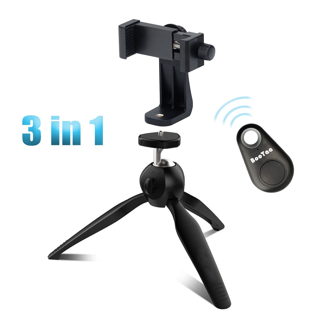 3 in 1 Mini Phone Tripods, Table Top Stand with 360 Rotating Universal Adapter Smartphone mount by Bootaa , tabletop tripod for iPhone, Regular Android Phone, Camera