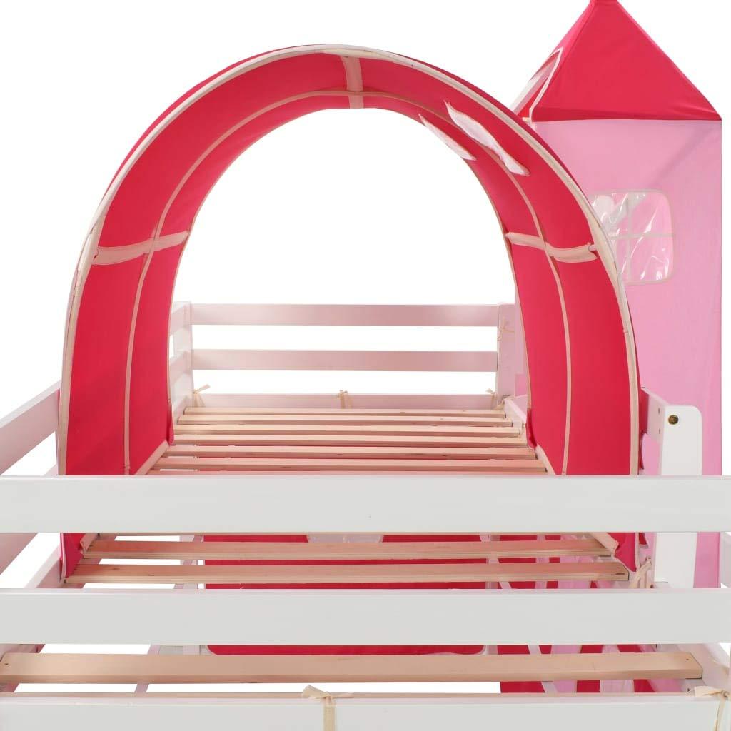 Tidyard Lit Mezzanine denfants avec Toboggan et Echelle en Pin/ède Solide Construction Solide Durable et Confortable 97x208 cm Matelas Non Inclus