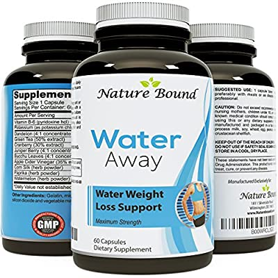 Pure and Potent Water Pills - Reduce Excess Water in the Body! Weight Loss and Appetite Suppressant Benefits - Natural Food Grade Source of Vitamin B6 - Pyridoxine Hydrochloride - Dandelion Root + Green Tea Diuretic for Women & Men- USA Made By Nature Bou
