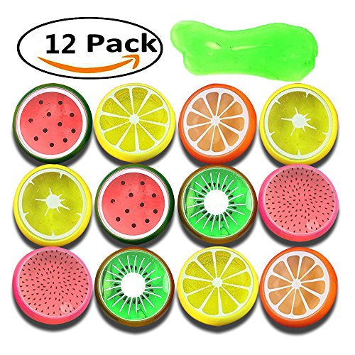 Anditoy 12 Pack 10 OZ Crystal Slime Soft Fruit Putty Colorful Slime Clay Stress Relief Toys for Kids, Students, DIY, Birthday Party Favors