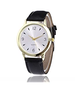 Loweryeah The Male and Female Cortical Quartz Watch Has A Clean and Simple Dial (Black)