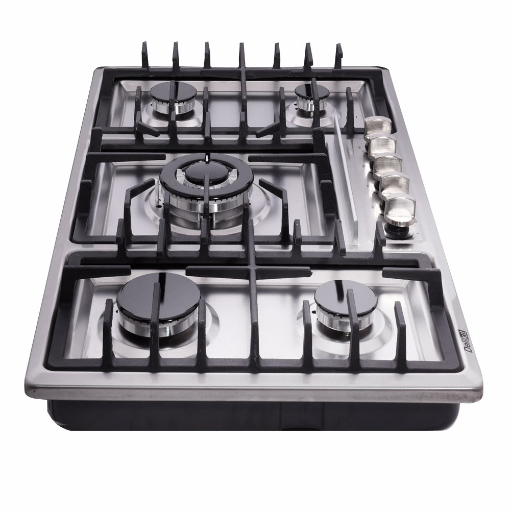 Amazon.com: DeliKit DK258-A01 34 inch Gas Cooktop gas hob 5 burners LPG/NG Dual Fuel 5 Sealed Burners Stainless Steel 5 Burner Built-In gas hob 110V AC ...