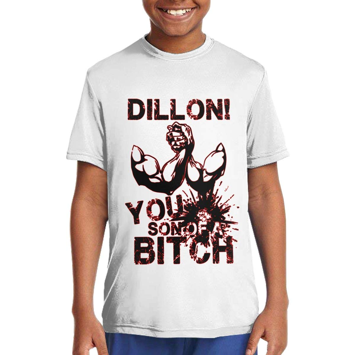 Dillon You Son of A Bitch Cotton Teenage Round Neck Short Sleeve Tee for Teen Boys and Girls Classic Fit White