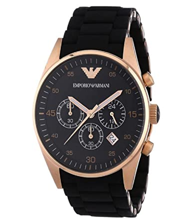 Stainless Steel Chronograph Black Band with Rose Gold Dial Men's Watch