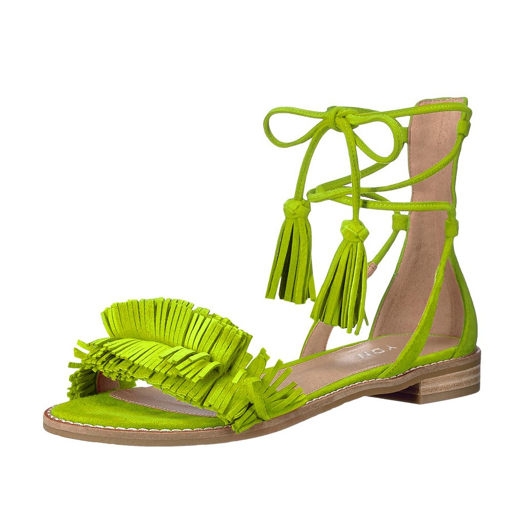 YDN Women's Stacked Low Heels Fringes Sandals Open Toe Flats Lace up Night Club Shoes B073W7FFL6 11 B(M) US Green