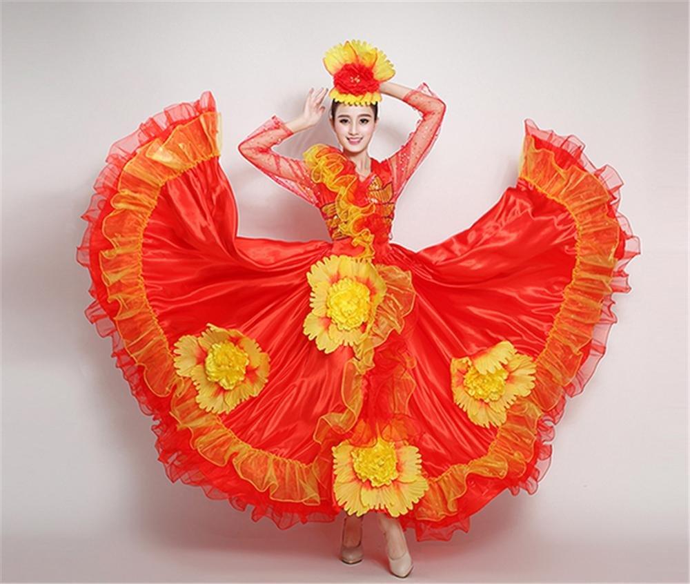 Rouge 540 peiwen La Grande Fleur de la Femme la Grande Jupe, la Danse et la Danse Folklorique 3XL