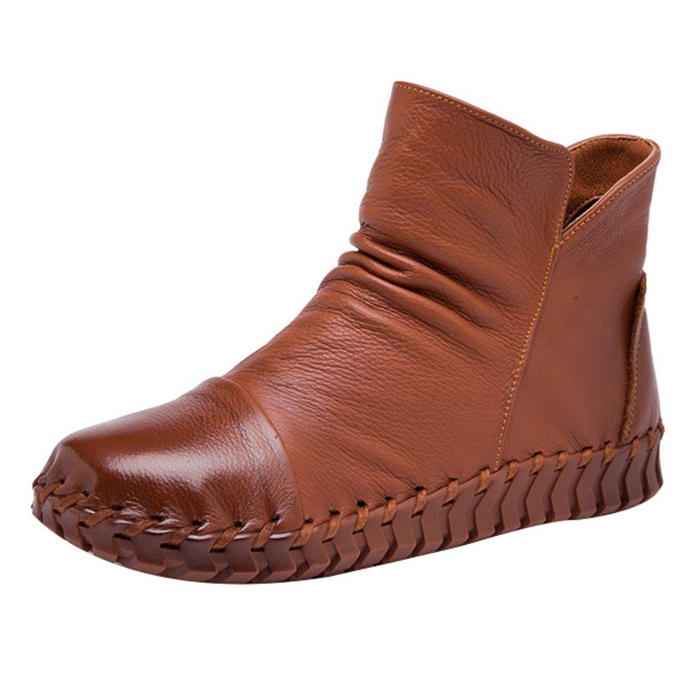 Mordenmiss Women's New Fall Winter Martin Flat Plain Toe Boots-Style 2-39-Camel