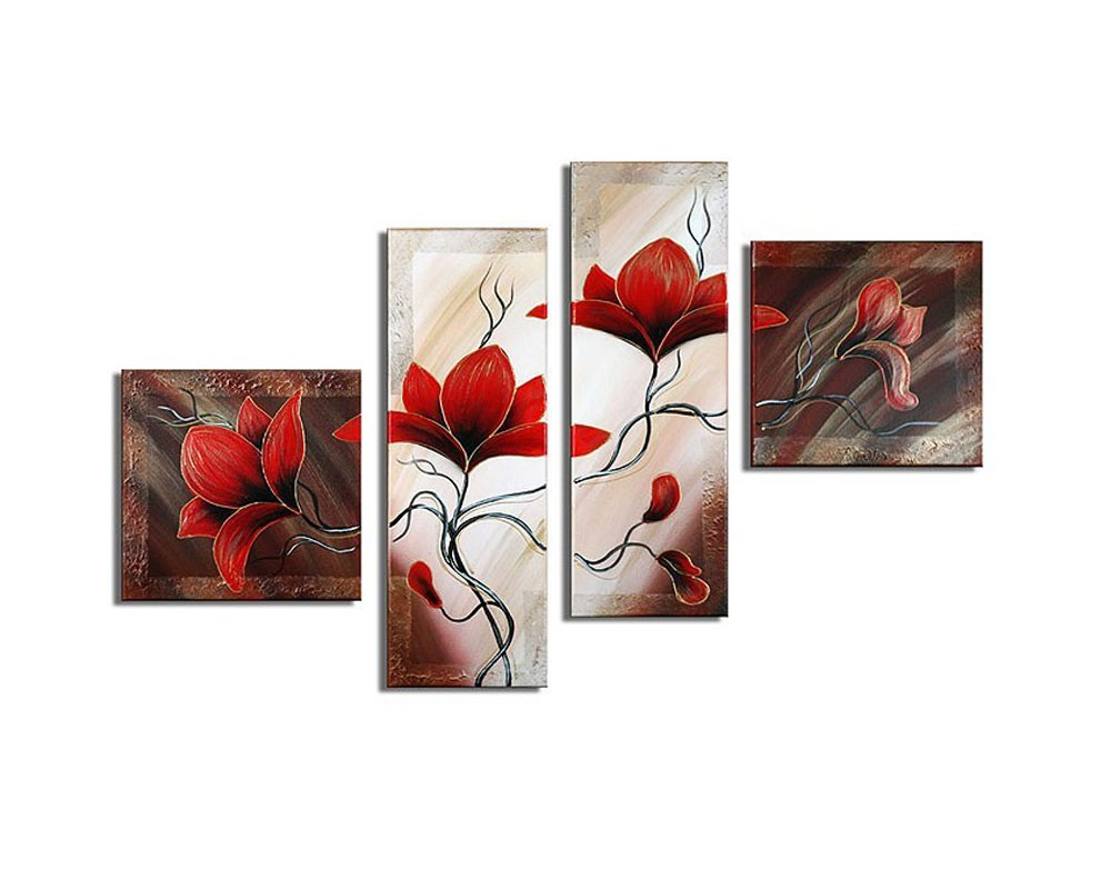 Noah Art-Rustic Flower Art, Red Tulip Flower Picture 100% Hand Painted Floral Artwork Modern Abstract Flower Oil Paintings on Canvas, 4 Piece Framed Flower Wall Art for Bedoom Wall Decor