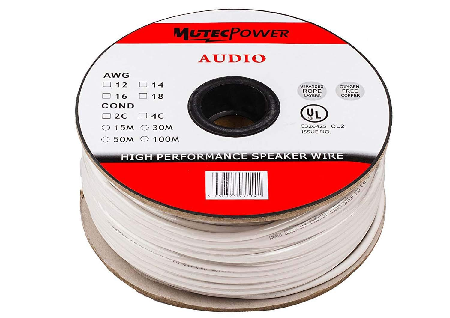 Mutec-Cable -Speaker Wire 2 x 1.5mm² 50M CL2 Rated UL: Amazon.co.uk ...