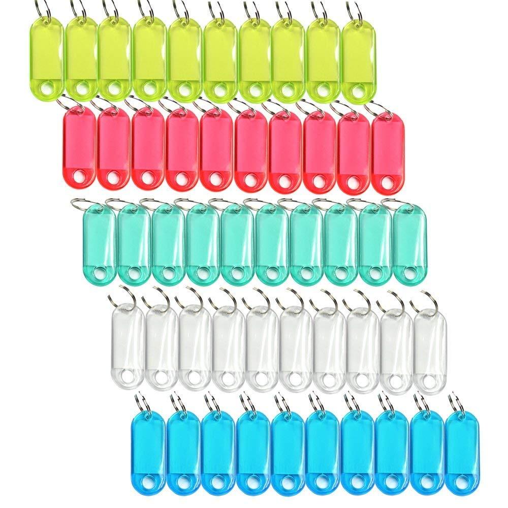 & Reg; Confezione da 50 assortiti codice colore della modifica chiave con etichetta Finestra supporto dell'anello con display LCD Stylus Cleaner Ouken