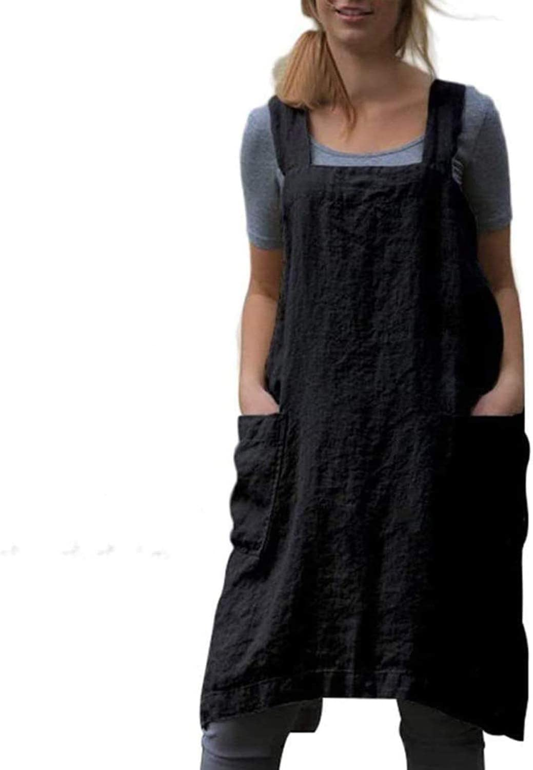YESDOO Cotton Linen Apron Cross Back Apron for Women with Pockets Pinafore Dress for Baking Cooking Gardening Party Without Waist Ties Apron
