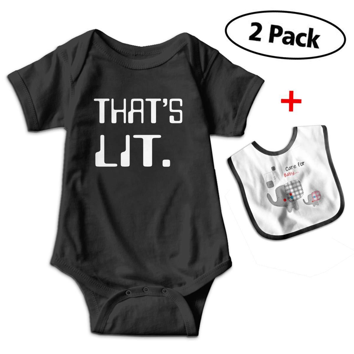 KAYERDELLE Geek LIT Babys Kids Short Sleeve Bodysuit Baby Onesie for 3-24 Months and Baby Bib