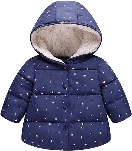 RAISEVERN Ragazze Cappotti Imbottiti Leggeri Invernali per Neonati Maschi 0-36 Mesi Giacche Imbottite con Cappuccio Antivento Capispalla per Bambini