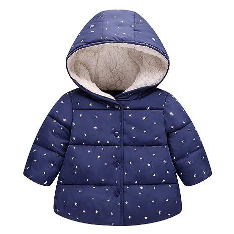 Algodón Abrigo para Niñas, Chaquetas con Capucha Invierno Calentito Ligero Abrigo Ropa para Bebés Niños