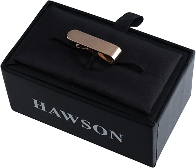 HAWSON 2 Inch Initial Tie Clips for Men Skinny Rose Gold Tone Tie Bar Clasp for Regular Neckties with Gift Box Letter A-Z