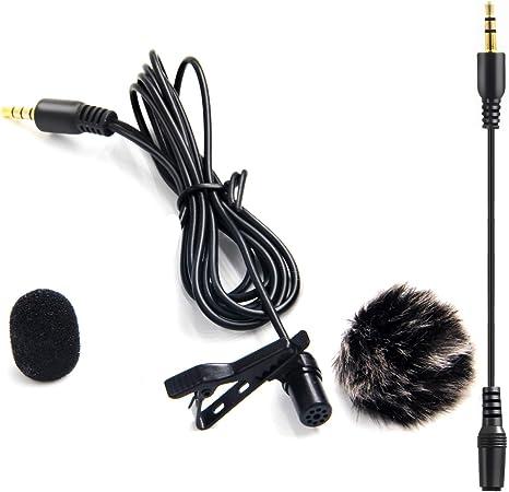 Micrófono de Solapa,LVM3 lavalier Micrófono Compatible con DSLR ...