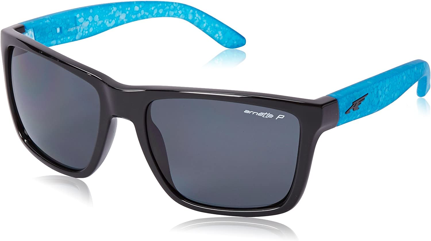 Arnette AN4177 Witch Doctor Square Sunglasses, Gloss Black w/ Grey Polarized, 59 mm