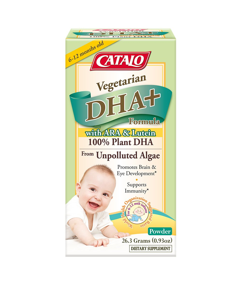 CATALO - Baby's Vegetarian DHA+ Formula, Support Brain Eye Development, Immunity Boosting with Omega 3, DHA, ARA, and Lutein from Marigold Extract, Powder, 0.93 Ounce