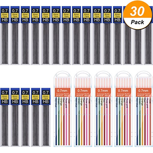 (Hestya 360 Pieces Lead Refills Mechanical Pencil Refills, 0.7 mm HB, Includes Colored Leads and Black Leads with Convenient Dispensers)